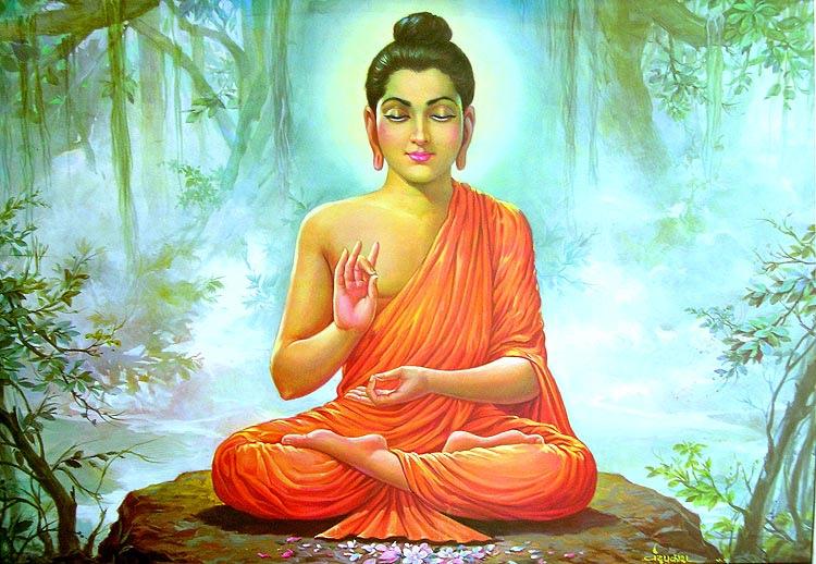 smiling Buddha mahogany carving